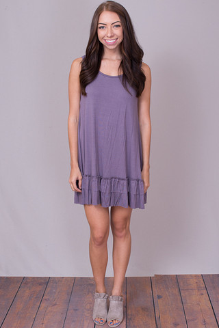 Easel Sleeveless Ruffle Tunic Purple Taupe