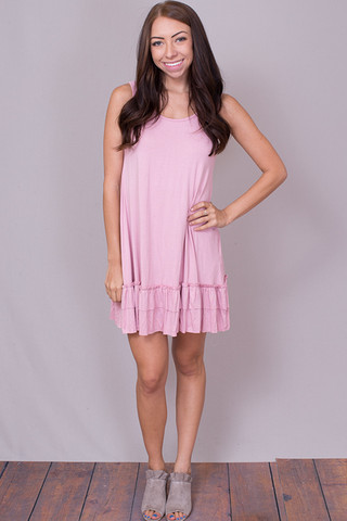Easel Sleeveless Ruffle Tunic Rose