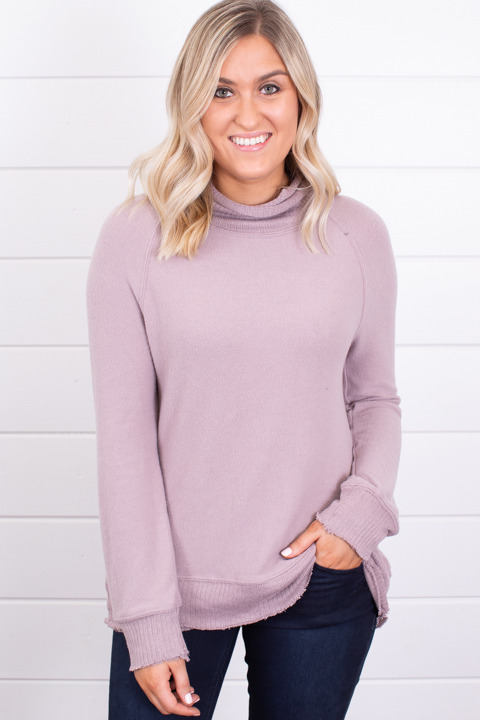 Z Supply The Soft Spun Mock Neck Pullover Mauve