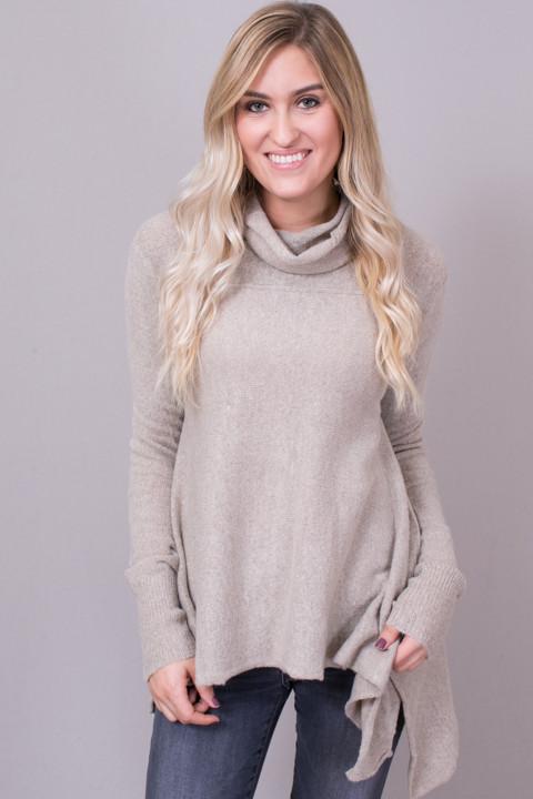 a8b918198afb Long Sleeve Cowl Neck Sweater Oatmeal