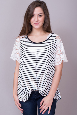 Striped Lace Sleeve To..