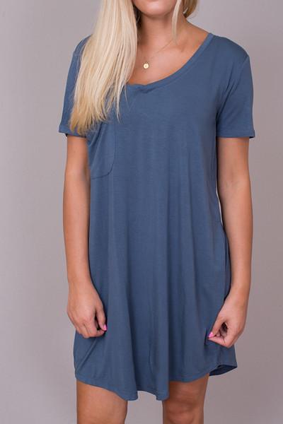 7e9b06349e581 Z Supply The Pocket Tee Dress Orion Blue 4