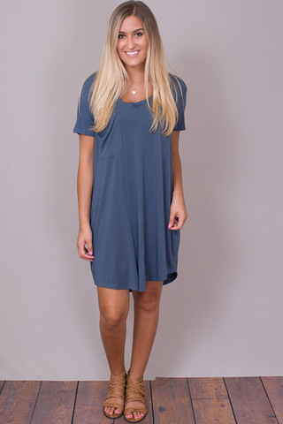 Z Supply The Pocket Tee Dress Orion Blue