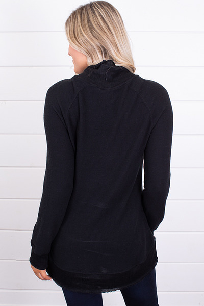 Z Supply The Soft Spun Mock Neck Pullover Black 2