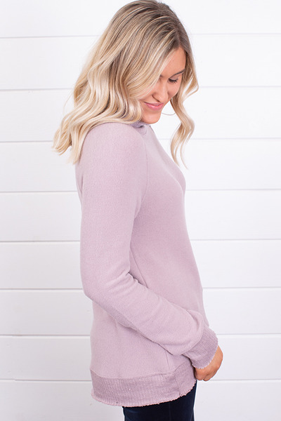 Z Supply The Soft Spun Mock Neck Pullover Mauve 2