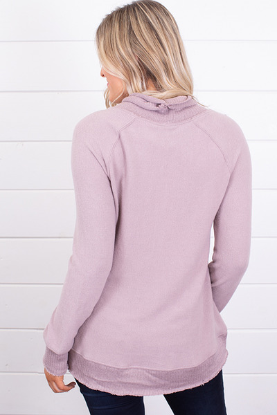 Z Supply The Soft Spun Mock Neck Pullover Mauve 3