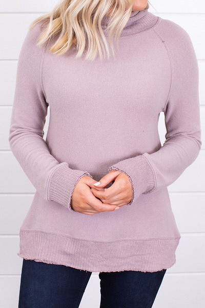 Z Supply The Soft Spun Mock Neck Pullover Mauve 4
